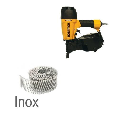Lot 10 cartons de clous rlx 2.30x55 inox fils soudés et cloueur pneumatique OFFERT